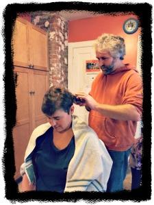 Jim shaving my head